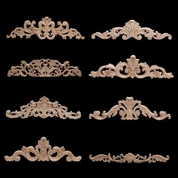 Drewno rzemiosło drewno aplikacja drewno naklejka Onlay rzeźbione niepomalowane Retro długi duży guma drewno dom umeblowanie ściany drzwi szafka nowość tanie i dobre opinie NoEnName_Null Flower Europa Drewna