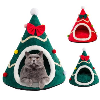 Christmas Pet Bed Cute Christmas Tree Shape Cat Tent Winter Warm Soft Cat Dog House Pet Nest For Cats Kittens Small Animals image