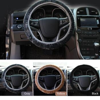 Car-covers Steering-wheel Faux Fur Steering Wheel Cover Genuine Leather Steering Wheel Cover Soft Classical Black/gray/beige/bro image