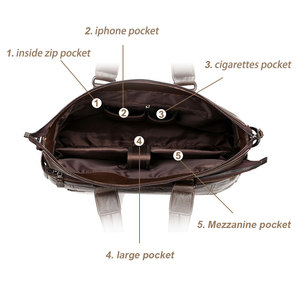 Image 4 - Mens Leather Briefcase PU Material 15inch Mens Shoulder Bag For Men Crossbody Bags 2019 Fashion Bussiness Briefcase handbag