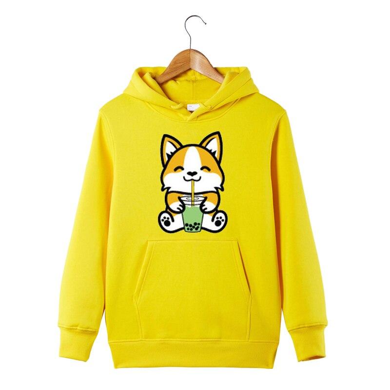Bubble Tea Shiba Inu Hoodie Cute Shiba Inu Dog Milk Tea Shiba Inu Hooded Sweatshirt