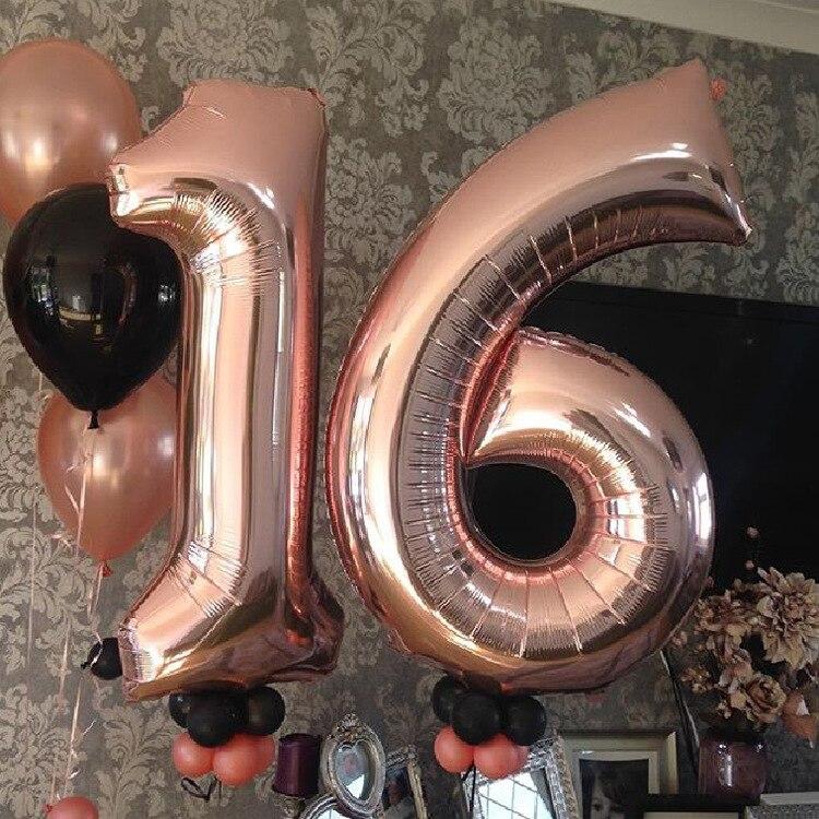 16/32/40 дюймовые воздушные гелиевые шары с цифровой фольгой для дня рождения, фигурки с цифрами, украшения для дня рождения, детские игрушки, б...