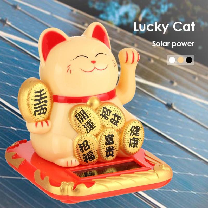 Манеки Неко на солнечной батарее, счастливый кот, черный/белый, приветственный, встряхивающий руки, китайский счастливый кот для дома, автом...