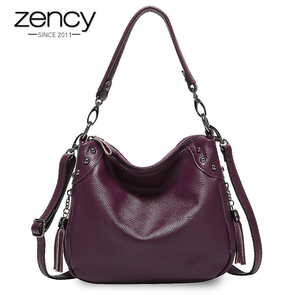 Zency Elegant Purple Women Shoulder Bag 100% Genuine Leather Hobos Fashion Lady Crossbody Purse Grey Handbag With Tassel Black