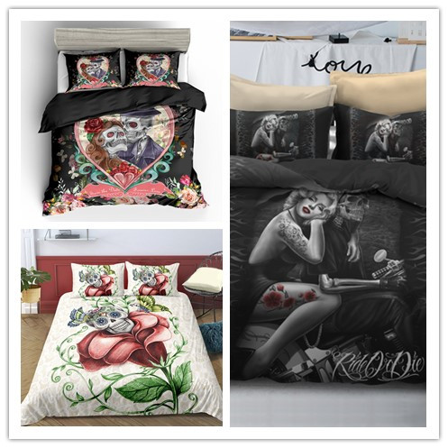 3D Colorful Skull Printing Bedding Sets  Multiple  Flowers And Couple Printing Soft Skull  Bedding Sets With Pillowcase