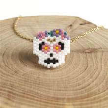 Shinus 10pcs Delcia Miyuki Necklaces Mexican Skull Necklace Women Collares Moda 2019 Jewelry Gold Chain Choker Stainless Steel цветок delcia