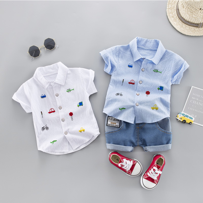 2020 Summer Kids Toddler Boy Car Shirt Jeans 1 2 3 4 Years Clothing Set Short Sleeve Cotton Suit Children Clothing Boys Outfit 1