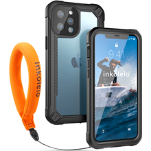 Inkolelo iPhone 12 Pro Max Waterproof Case New-Style Built-in Screen IP68 Full Sealed Shockproof Cover for Swimming Diving Black