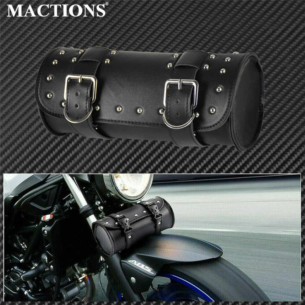 Motorrad Gabel Werkzeug Taschen Lagerung Leder Reise Pouch Front Gepäck Tasche Für Harley Sportster XL Touring Softail Dyna Road King XL883 1200 48 72 Road Street Glide Fat Boy