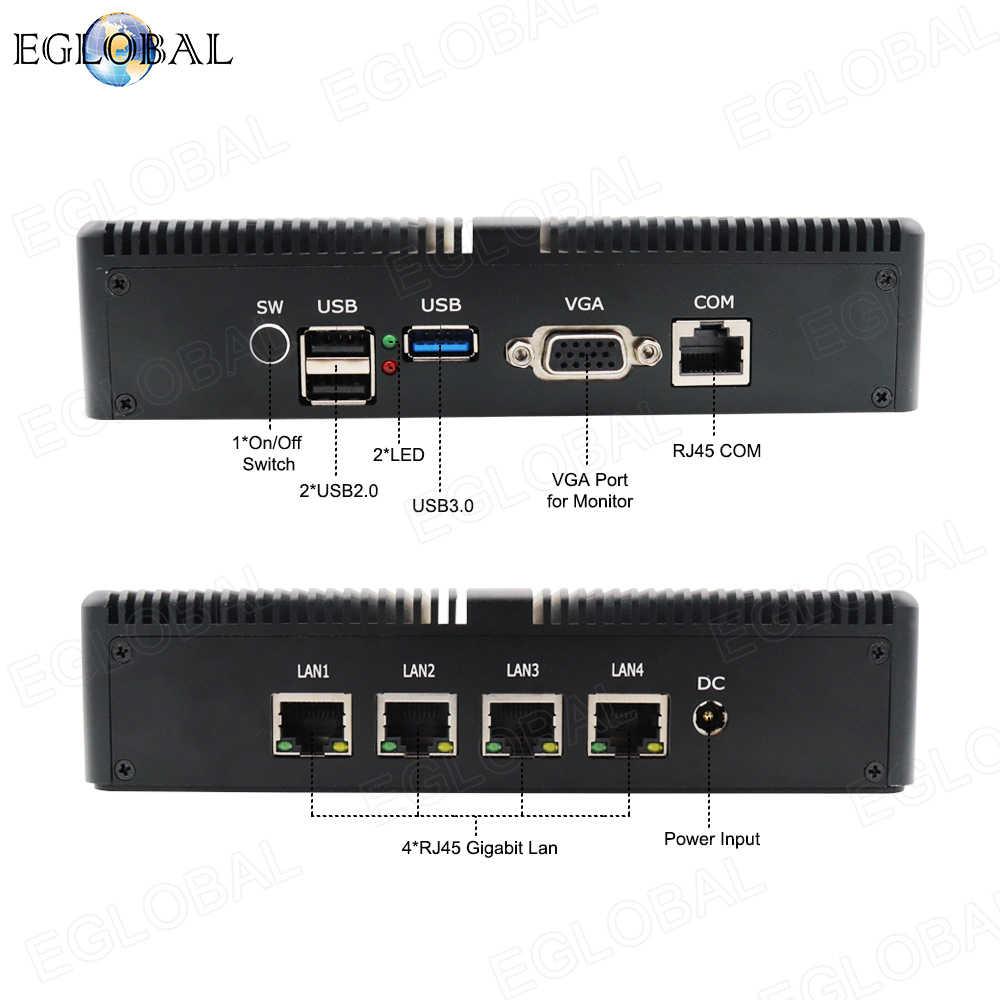 Eglobal بدون مروحة Pfsense كمبيوتر مصغر لينكس J1900 رباعية النواة نانو Itx 4 * إنتل WGI211AT جيجابت RJ45 Lan جدار الحماية راوتر الأمن