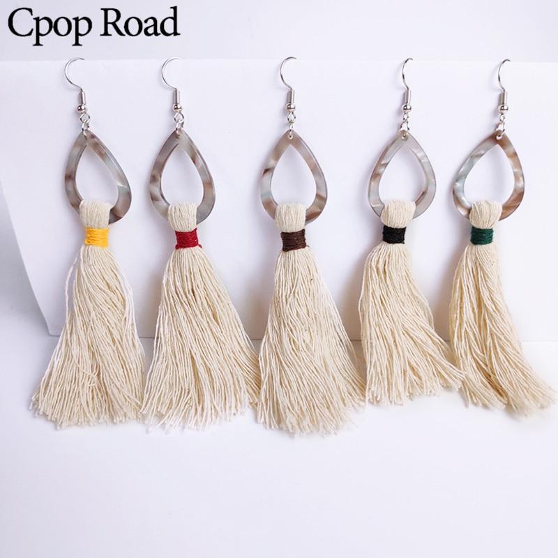 Cpop New Boho Trendy Tassel Macrame Earring Water Drop Acrylic Pendant Statement Earrings Bridesmaid Wedding Jewelry Accessories in Drop Earrings from Jewelry Accessories