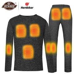 Мужская нагревательная футболка для мотоцикла, комплект теплого термобелья с электрическим подогревом USB для осени и зимы #