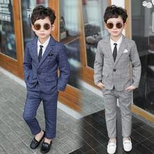 Formal Boys Suits Pants Tuxedos-Sets Blazers Party-Clothes School-Costume Weddings Plaid