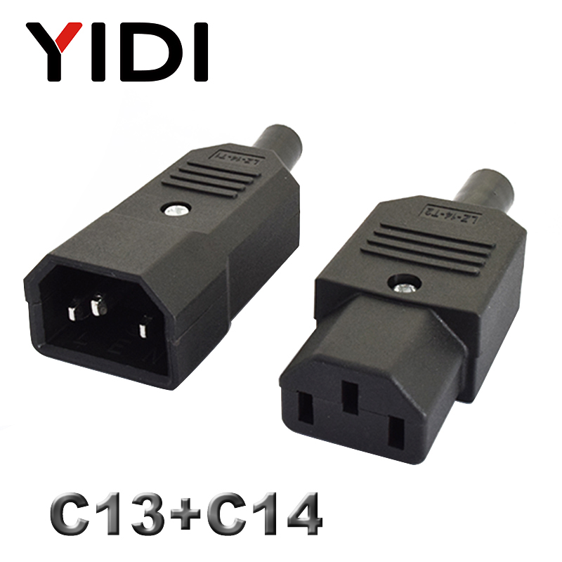 10A 250V IEC Straight Cable Plug Connector C13 C14 Female Male Plug Rewirable Power Connector 3 Pin AC Socket
