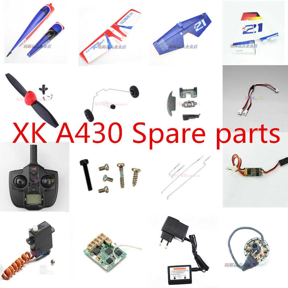 Piezas de Repuesto de aeroplano XK A430 RC motor de hélice ESC servo varilla de aterrizaje receptor transmisor línea de cargador piezas de plástico, etc.