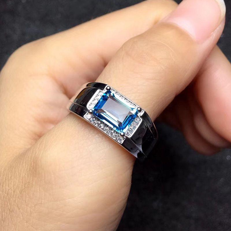 Superbe 6*8mm taille naturel bleu topaze gemme anneau S925 argent naturel pierres précieuses hommes anneau pierre de naissance cadeau bijoux sagittaire