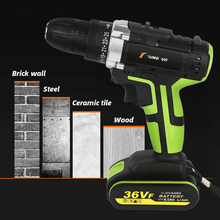48VF 36VF Electric Drill Cordless Screwdriver Lithium Battery LED Light Mini DIY Wireless Power Driver 2 Speed Power Tools