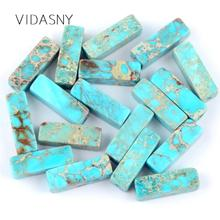 Natural Gem Stone Column Shape Lake Blue Sea Sediment Jaspers Tube Beads For Jewelry Making 4*13mm Loose Beads Diy Bracelet 15''