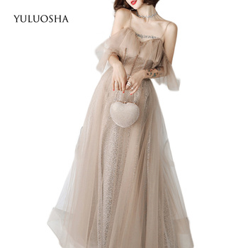 YULUOSHA Gold Evening Dress Sexy Strapless Sequined Floor-Length Liza Gown Dress Party Evening Gowns for Women Vestido De Noche