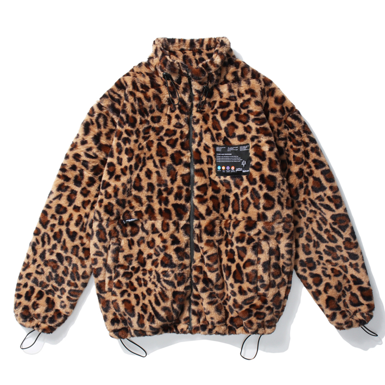 Streetwear Leopard Print Zip Up Cardigan Coats Hip Hop Lambswool Jacket Coats Men Autumn Winter Harajuku Loose Coat Outwear 2020