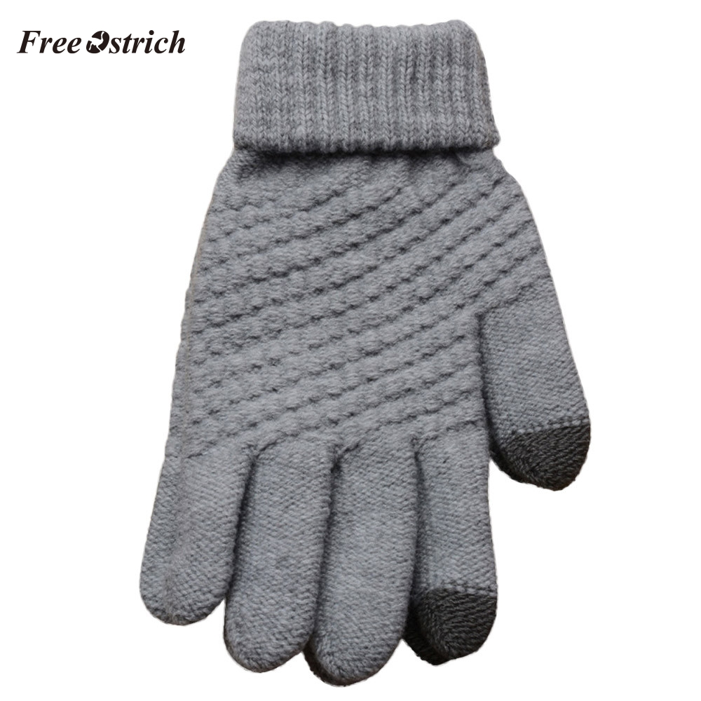 Free Ostrich Women Men Full Finger Gloves Mittens Winter Warm Comfortable Lady Gloves Solid Wool Knitted Mittens Gloves 2019 #O