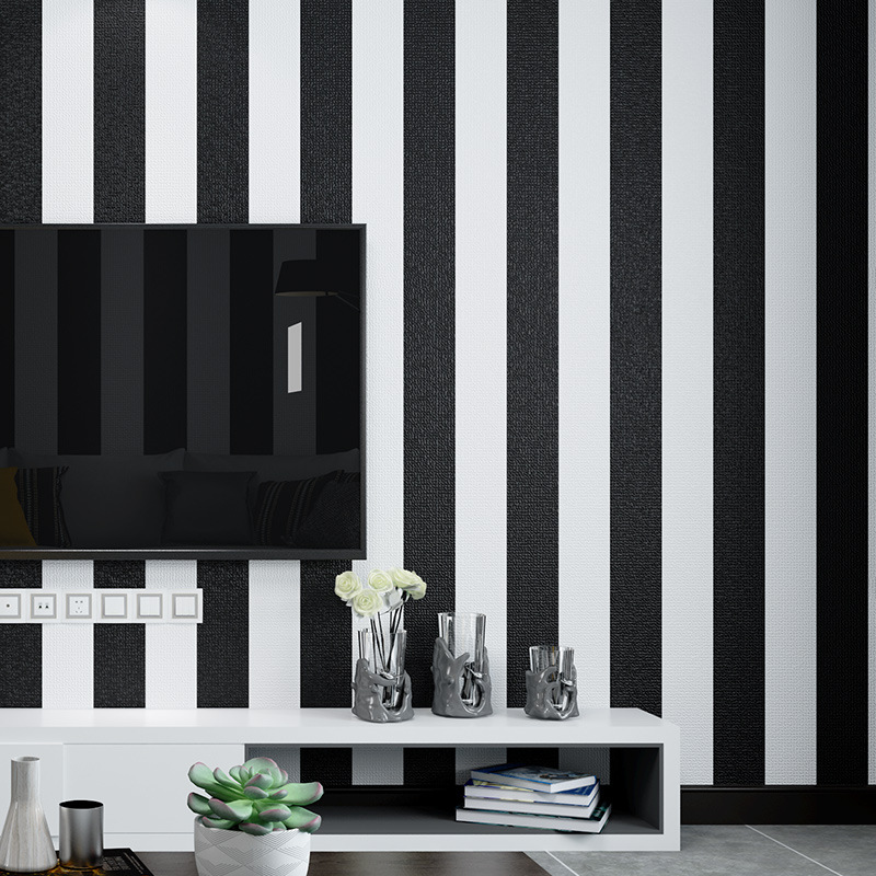 Modern Minimalist Black And White Horizontal And Vertical Stripes PVC Wallpaper Living Room Bedroom Hotel Stores Decoration Engi