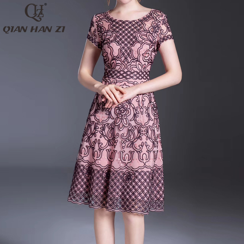 Qian Han Zi 2020 plus size dress fashion summer dress Womens short sleeve high quality party vintage Slim Embroidered dress