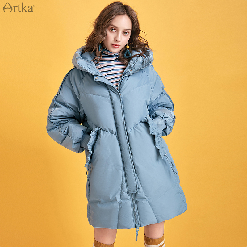 ARTKA 2019 Winter New Women Down Coat Blue Color 90% White Duck Down Coats Hooded Long Casual Loose Thick Warm Outwear ZK10293D