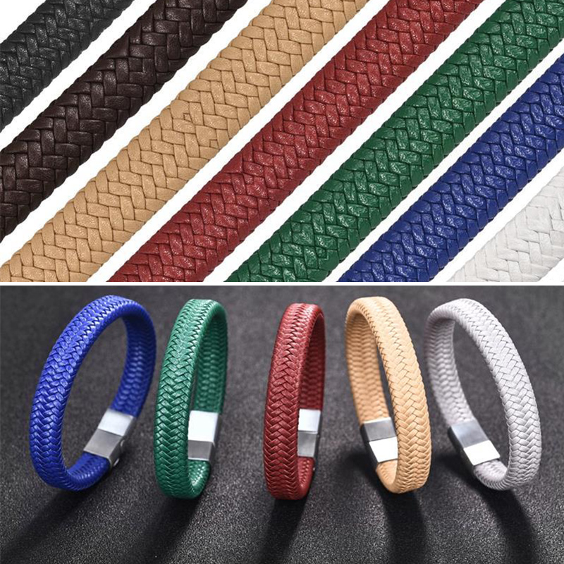 1/3/5M 12x6mm Flat Braided Leather Rope Bracelet String Cord For DIY Jewelry Making Accessories Handmade Craft Jewelry Findings