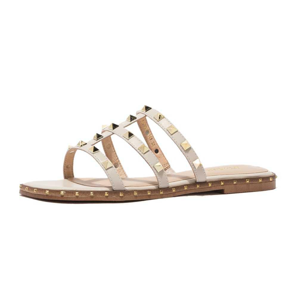 ST & SAT/женские сандалии; Летние шлепанцы на плоской подошве с заклепками