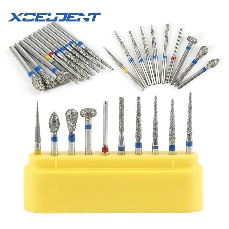 10pcs Dental Diamond Burs Drill Dental Burs Dia-burs For High Speed Handpiece Medium Dentist Tools