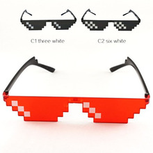 Retro Glasses 8 Bit Thug Life Sunglasses Pixelated Men Women Brand Party Eyeglasses Mosaic UV400 Vintage Eyewear Gift Toy Glasse