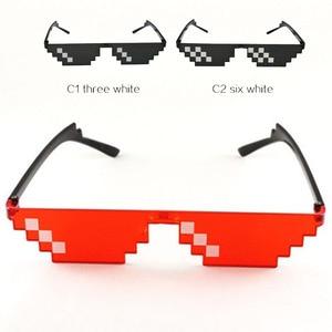 Image 1 - Retro Glasses 8 Bit Thug Life Sunglasses Pixelated Men Women Brand Party Eyeglasses Mosaic UV400 Vintage Eyewear Gift Toy Glasse