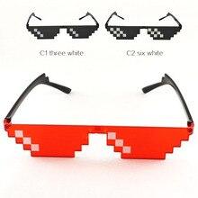 Retro gözlük 8 Bit Thug yaşam güneş gözlüğü Pixelated erkekler kadınlar marka parti gözlük mozaik UV400 Vintage gözlük hediye oyuncak gözlük