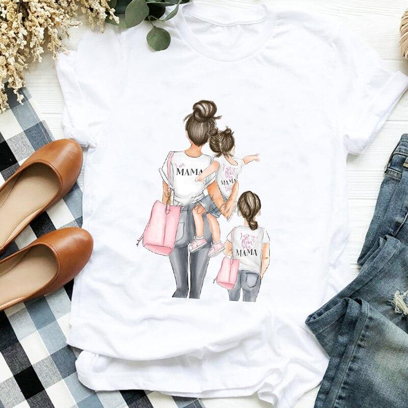 Женская рубашка; Модная одежда с надписью «Love» для мамы и дочки; 90s; Модная женская футболка с графическим принтом; Женская футболка