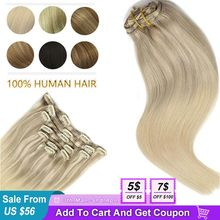 Human-Hair-Extensions Remy-Hair Clip-In Honey-Blonde Natural-Black Straight Brown 120g