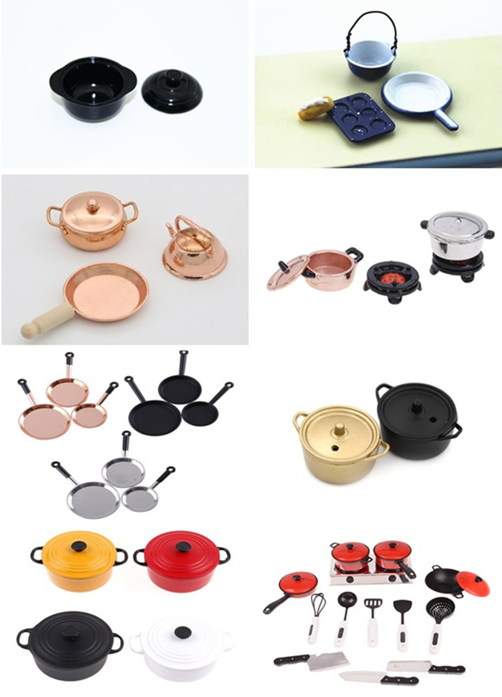 1/3/10/13pcs <font><b>Dollhouse</b></font> <font><b>Miniature</b></font> 1:12 Mini Pot Set Diy Doll House <font><b>Kitchen</b></font> <font><b>Furniture</b></font> Accessories Red Silver Soup Frying Milk Pan image