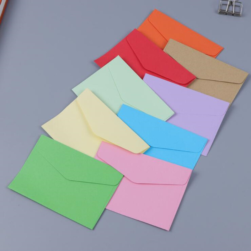 10pcs/lot Candy Colors Blank Mini Envelopes Gift Envelope Wedding Birthday Party Sobres Invitation Kraft Paper Festival Favor