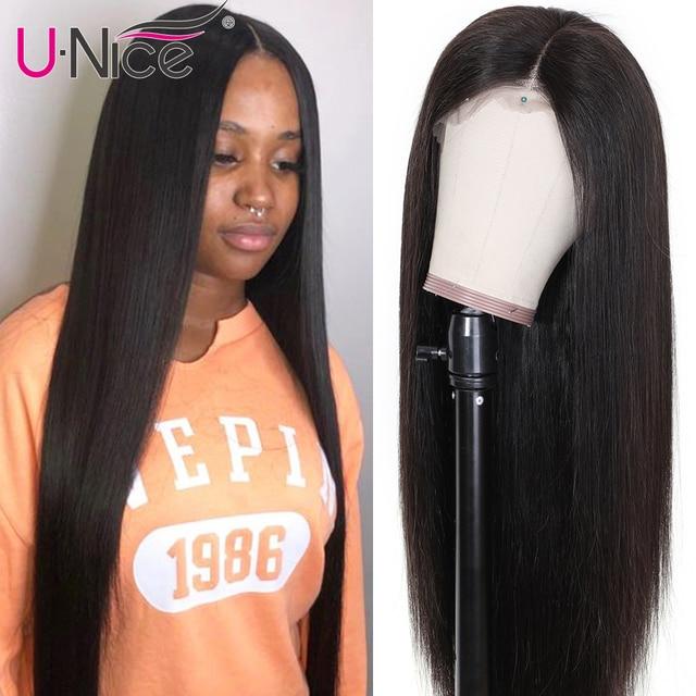Unice cabelo 13x 4/6 reta frente do laço perucas de cabelo humano com o cabelo do bebê peruca frontal do laço suíço pré arrancado peruano remy peruca de cabelo