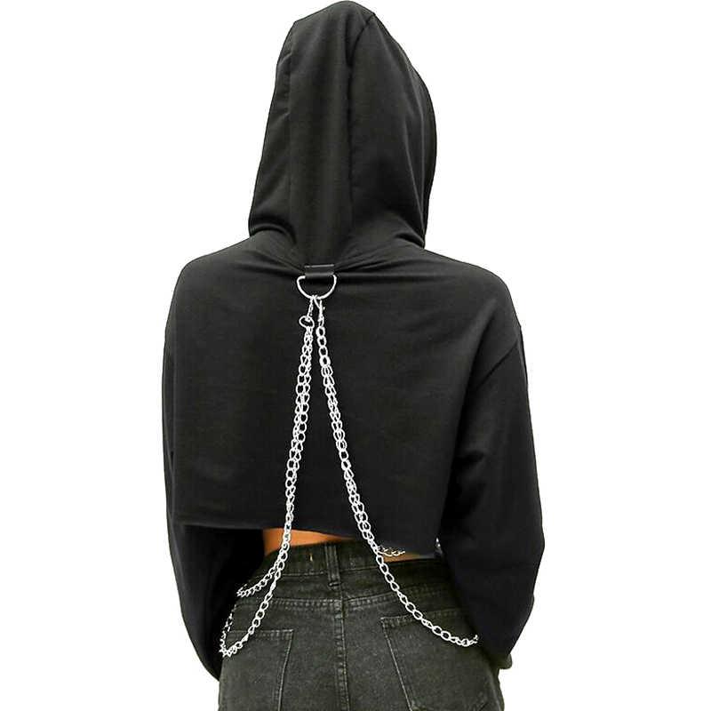 Vrouwen Herfst Hip Hop Lange Mouw Leuke Effen Kleur Off-Shoulder Casual Losse Hooded Korte Sweatshirt Met Metalen Ketting