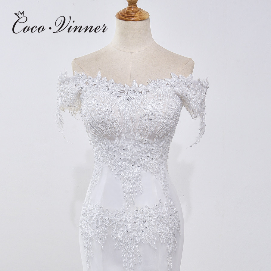 Special Pearls Beading Lace Mermaid Wedding Dresses Pure White Ivory Color Cap Sleeve Quality Bride Dress Wedding Gowns WX0032