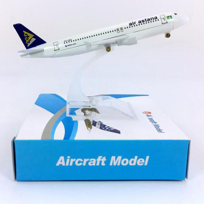 16CM 1:400 Landing Gear Aircraft Airbus A320-200 Model Air Astana Airways W Stand Base Alloy Diecast Plane Collectible Display