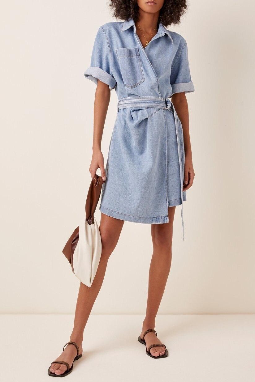 2021 primavera verão vestido feminino francês envolto pijama denim azul moda belte mini vestido