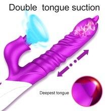2020 New Dildo Vibrator Double Tongue Licking Telescopic Turn G Spot Clitoris Stimulator Erotic Adult Sex Toys for Women Vaginal