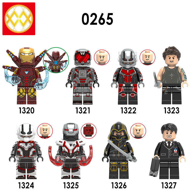 Building Blocks X0265 Iron Man Antman Wasp Hawkeye Tony Stark Happy Hogan War Machine Captain Super Heroes Toys for Children