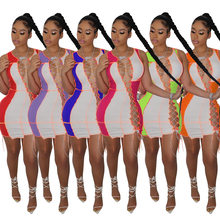 2021Dress for Women Summer Dress Sexy Dresses for Club Night Patchwork Hollow Out Slim Mini Dresses High Waisted Sexy Mini Dress