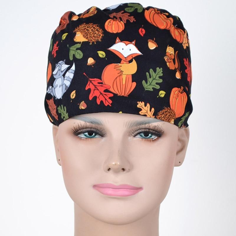 Thanksgiving Fox Nurse Medical Surgical Cap Hospital Pharmacy Dentist Scrub Caps Nursing Surgery Hat