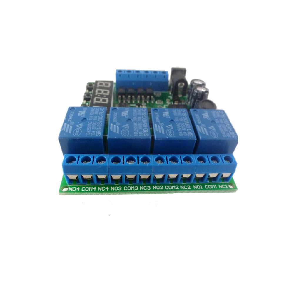 Taidacent DC5V 9V 12V 24V 4 Channel Timer Relay Independently Trigger Multifunction Time Delay Relay Timer Relay Switch Module