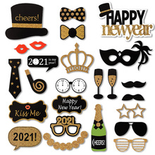 Photo-Booth-Prop Backdrop-Decoration Xmas-Party-Favor-Supplies Happy Gold Black 25pcs