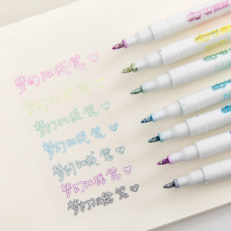 1pc Colorful Double Line Pen Highlighter Fluorescent Marker Pen 8 Colors Mark Pen Cute Mildliner